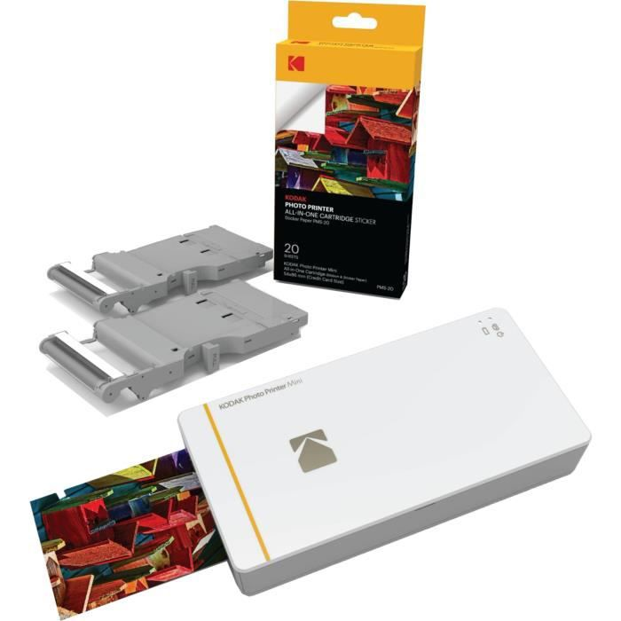 KODAK PHOTO PRINTER MINI Imprimante photo WiFi - Compatible iOS et Android + 20 cartouches et papier pour Mini PRINTER