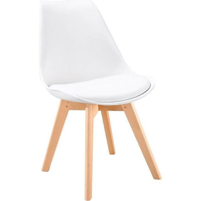 BJORN Chaise de salle à manger - Simili blanc - Scandinave - L 48,3 x P 61 cm
