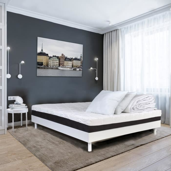 Ensemble relaxation TALCA matelas + sommiers électriques décor blanc satiné 2x80x200 - Mousse - 14 cm - Ferme