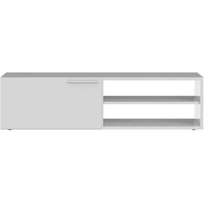 KIKUA Meuble TV contemporain blanc brillant - L 130 cm