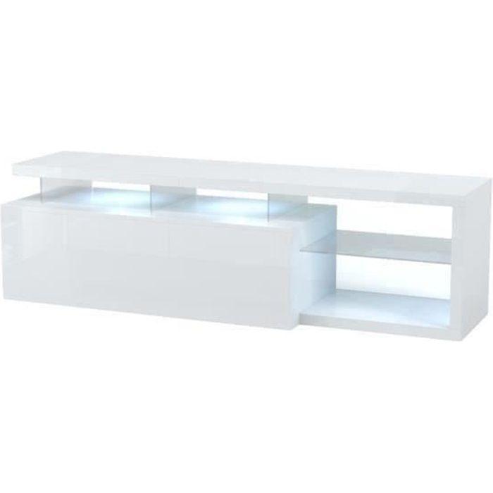 LEDD Meuble TV avec LED contemporain blanc et tablettes en verre - L 150 cm