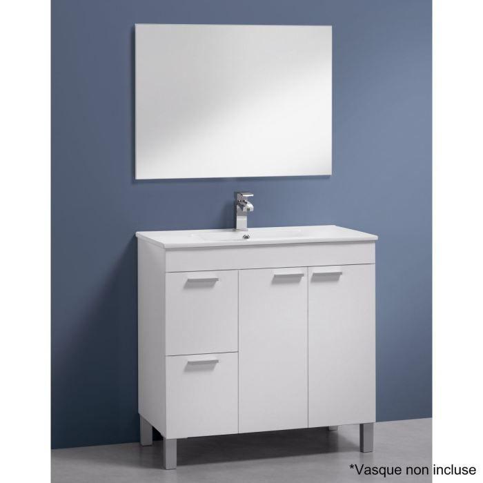 AKTIVA Meuble sous-vasque blanc brillant et miroir
