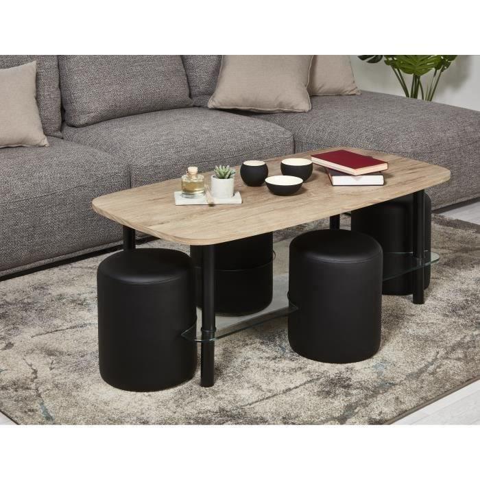 Ensemble Table basse plateau bois et verre + 4 poufs simili noir - L 120 x P 60 x H 45 cm