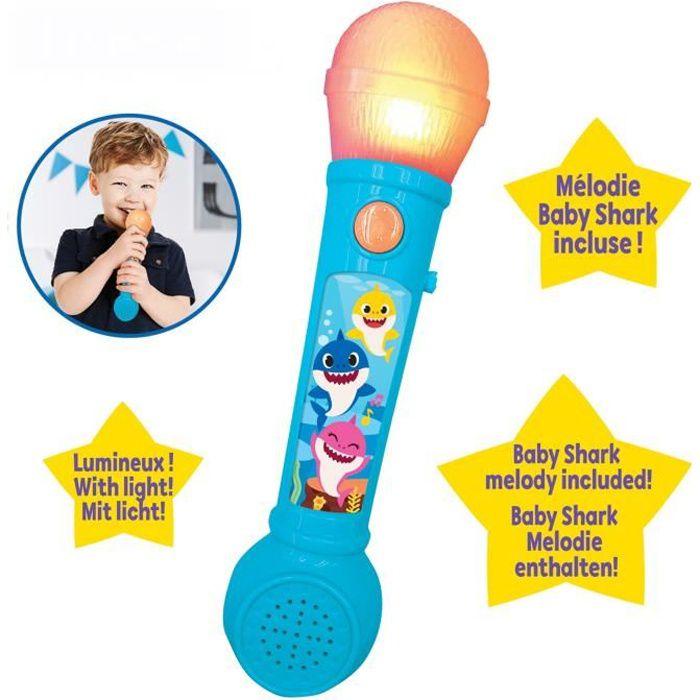 BABY SHARK Microphone lumineux avec mélodies et effets sonores - LEXIBOOK
