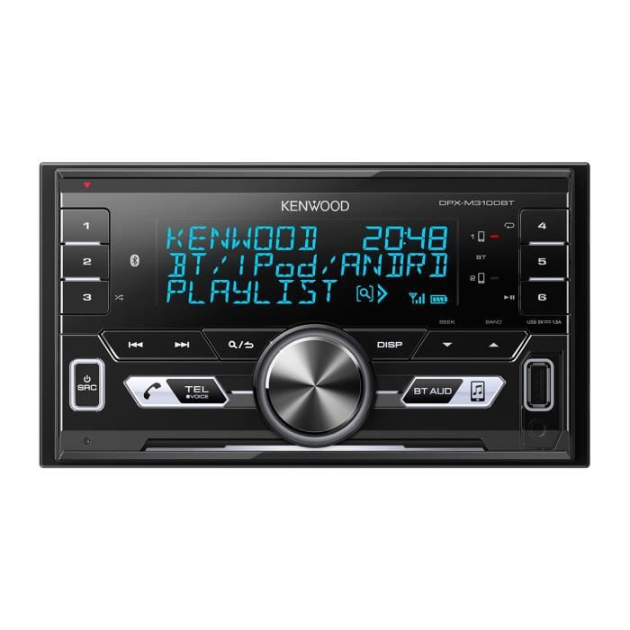 KENWOOD Autoradio DPX-M3100BT - CD - USB - Iphone - Bluetooth - Double Din sans mécanique