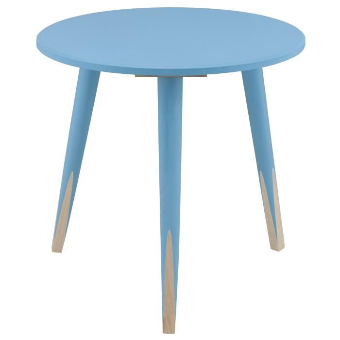 PENCIL Bout de canapé/table d'appoint ronde style scandinave bleu et naturel - L 40 x l 40 cm