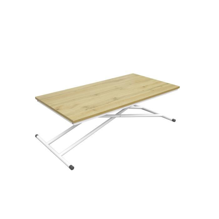 SAMANTHA Table Up and Down - Pieds métal blanc et décor chêne naturel - L 110 x P 60 x H 39-75 cm
