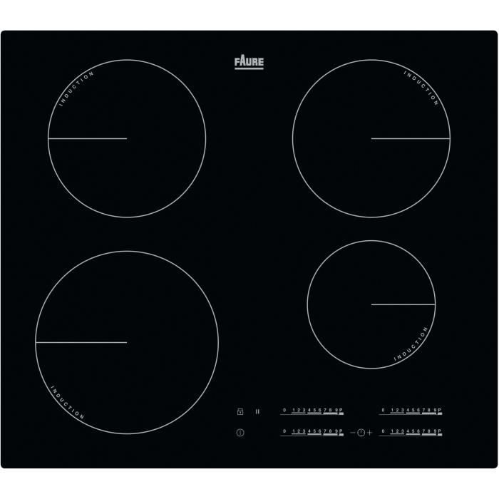 FAURE FIT6470CB - Table de cuisson induction - 4 zones - 7350 W - L 59 x P 52 cm - Revêtement verre
