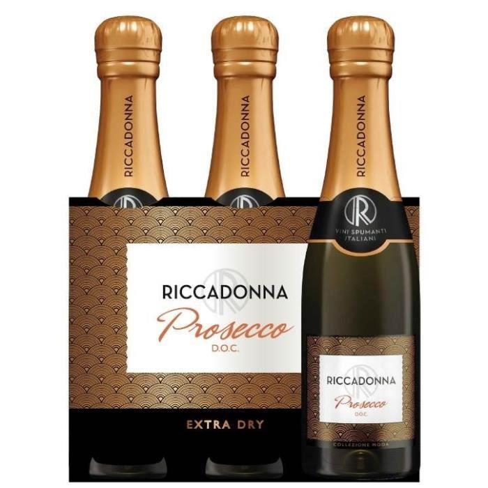 Riccadonna Prosecco Extra Dry - Vin pétillant d'Italie - 3 x 20 cl