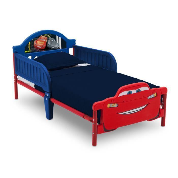 CARS - Lit Enfant Cars 3D en métal - Bleu et Rouge - 70 x 140 cm