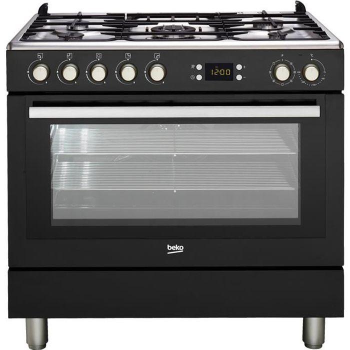 BEKO GM15310DB Piano de cuisson - Table gaz 5 foyers - 3,3kW - Four multifonction- 112L - B- Larg 90cm x Haut 85cm - Coloris Noir
