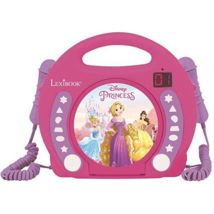 DISNEY PRINCESSES Lecteur CD karaoké enfant avec 2 microphones LEXIBOOK