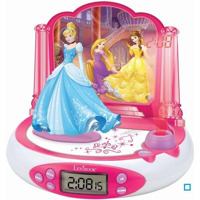 LEXIBOOK - Disney Princesses Cendrillon - Radio Réveil Enfant avec Projection de l'Heure