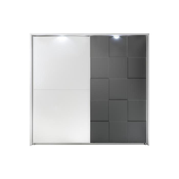 Armoire - Laqué Gris et blanc - 2 portes coulissantes + LED - L 220 x P 64 x H 210 cm