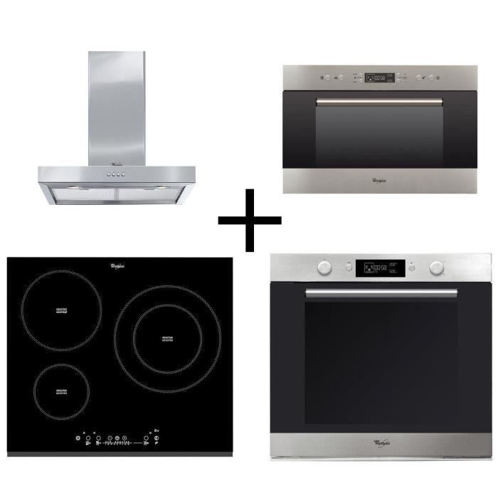 PACK Cuisson WHIRLPOOL AKZM740IX four + ACM860BF-Table de cuisson induction + AKR5582IX Hotte + AMW703IX Micro-ondes encastrable
