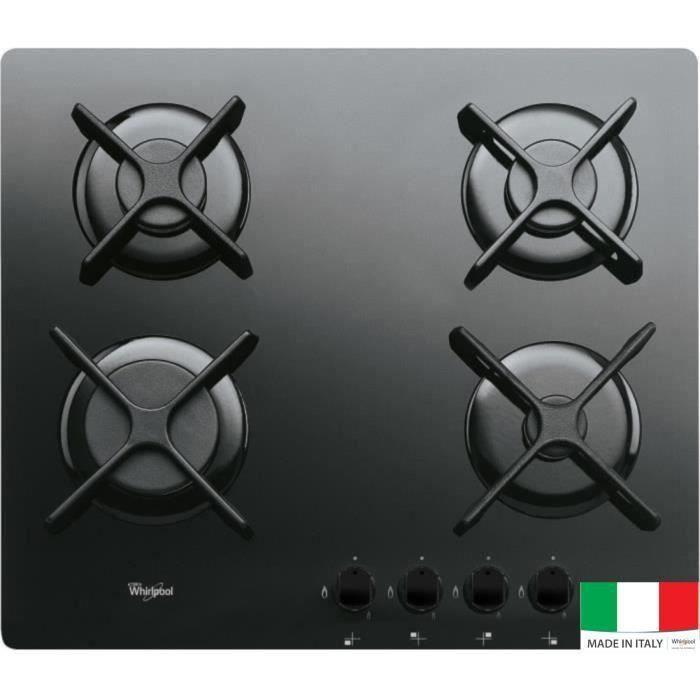 WHIRLPOOL AKT2000NB Table cuisson gaz - 4 foyers - 7800W - L59 x P51 cm - Revêtement verre trempé - Miroir