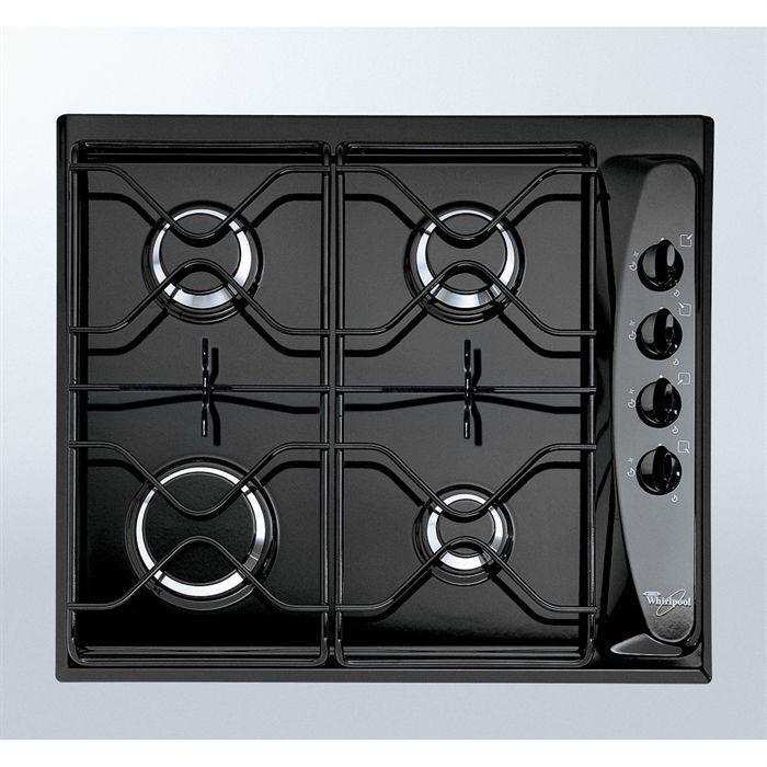 WHIRLPOOL AKM260 Noir Table de cuisson gaz-4 foyers-7300W-L58xP50cm-Revêtement porcelaine email-Noir