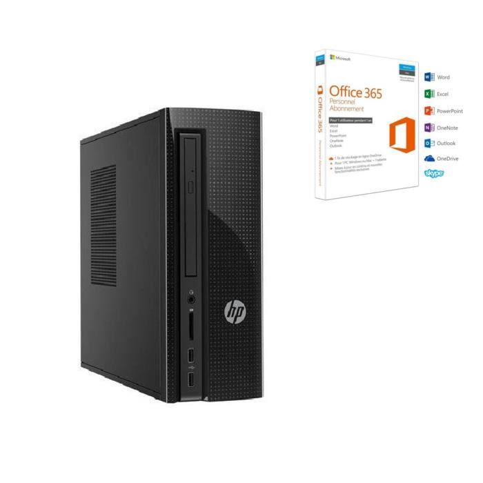 HP PC de bureau - 260a120nf - 4 Go de RAM - Windows 10 - AMD E2-7110 - AMD Radeon R2 Graphics - Disque dur 1 To + Office