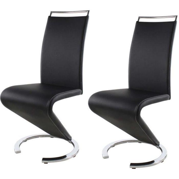 SIDNEY Lot de 2 chaises de salle à manger en métal - Simili noir - Contemporain - L 49,5 x P 61 cm