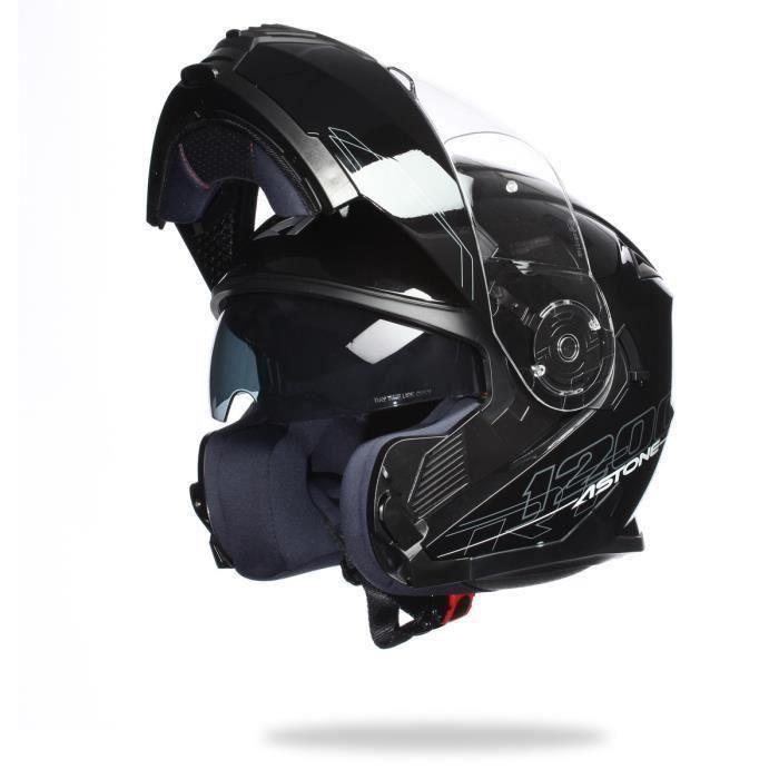 ASTONE RT1200 Casque Modulable Noir Verni