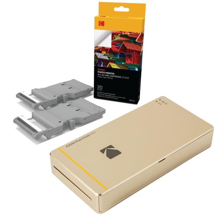 KODAK PHOTO PRINTER MINI Imprimante photo WiFi - Compatible iOS et Android + 20 Cartouche et papier pour Mini PRINTER