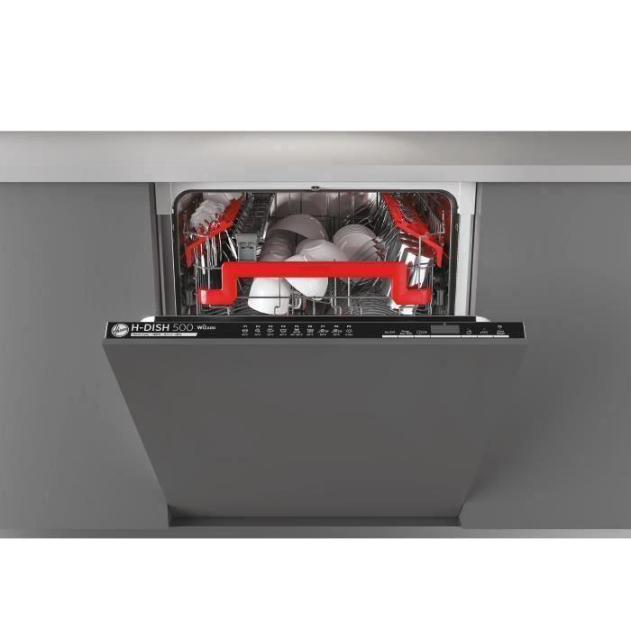 Lave-vaisselle encastrable connecté HOOVER HDIN4D620PB - 16 couverts - Largeur 60 cm - Classe A +++ - 43 dB - Bandeau noir