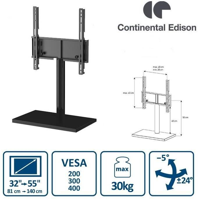Continental Edison Support TV Pied Central (32'' à 55'')