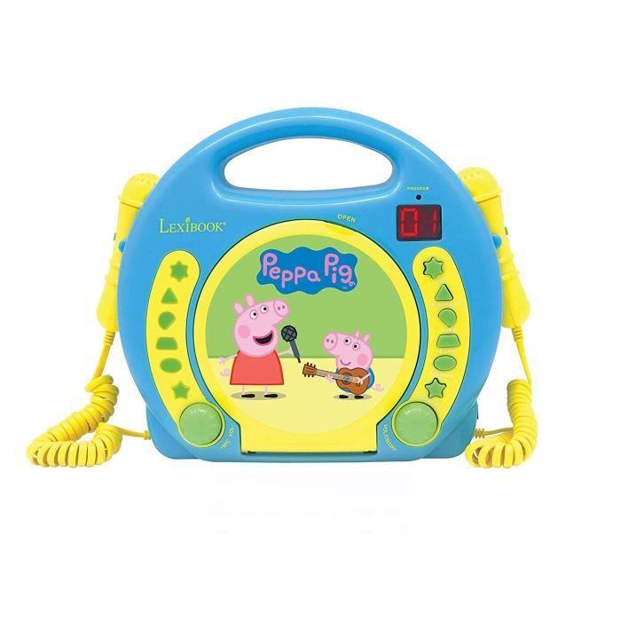 PEPPA PIG Lecteur CD karaoké enfant avec 2 microphones LEXIBOOK