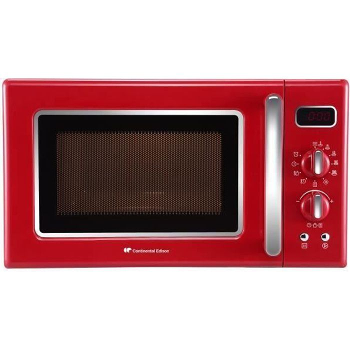 CONTINENTAL EDISON MO20RV - Micro-ondes monofonction rouge - 20L - 700 W - Pose libre