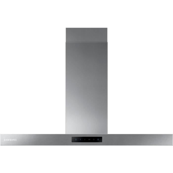 SAMSUNG NK36M5060SS/EF - Hotte décorative murale-Evacuation / recyclage-668m3 air / h-70 dB-4 vitesses-L 90cm-Inox