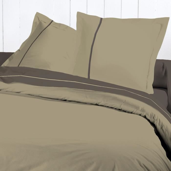 DAVID OLIVIER Housse Couette 220x240 Percale TAUPE pour 35€