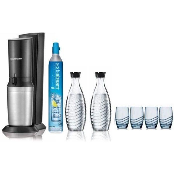 SODASTREAM Pack Machine à gazéifier Crystal Blanche + 2 Carafes en verre + 4 verres sérigraphiés