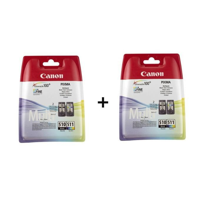 Canon cartouches PG-510 B/C/M/Y Pack couleurs x2