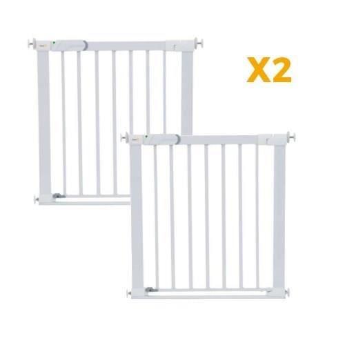 SAFETY 1ST Barrière de sécurité enfant Flat Step Barrière Métal Lot de 2 - Blanc