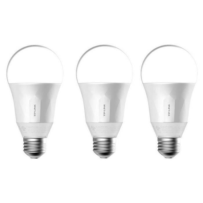 TP-LINK Lot de 3 Ampoules LED LB100 connectées Wi-Fi E27 50 W avec variation de l'intensité lumière blanche