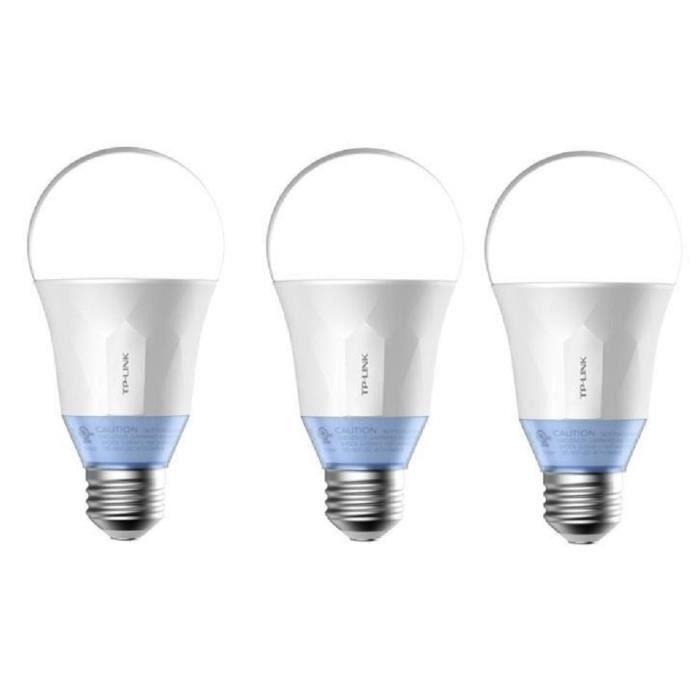 TP-LINK Lot de 3 Ampoules LED LB120 connectées Wi-Fi E27 60 W avec lumière blanche personnalisable