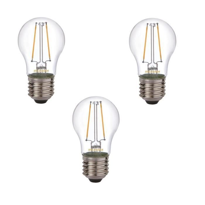 SYLVANIA Lot de 3 ampoules LED à filament Toledo Retro Ball E27 2 W équivalent à 25 W