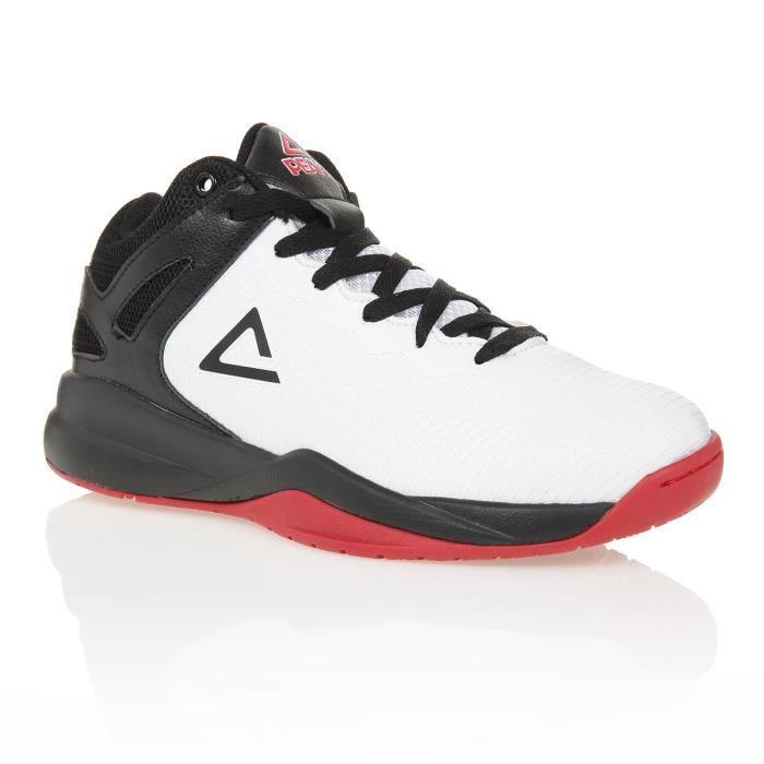 PEAK Chaussure de Basketball pour Enfant Victor Blanc NVY
