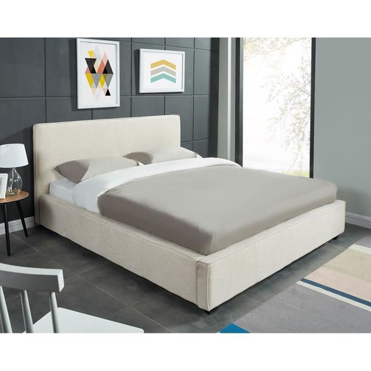 cleveland lit adulte 140x190 cm sommier blanc achat. Black Bedroom Furniture Sets. Home Design Ideas