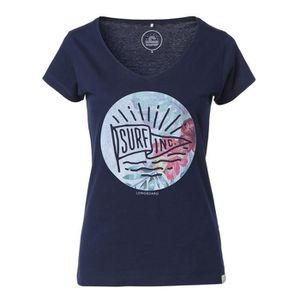 T-SHIRT LONGBOARD T-shirt Imprimé Polynesian Visa Bleu Mar