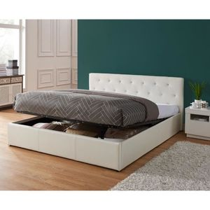 STRUCTURE DE LIT BAHIA Lit coffre adulte contemporain simili blanc