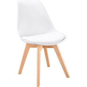 CHAISE BJORN Chaise de salle à manger - Simili blanc - Sc