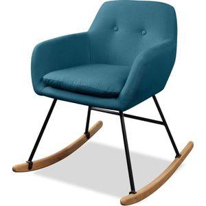 FAUTEUIL JENS Fauteuil Rocking Chair - Tissu Bleu canard -
