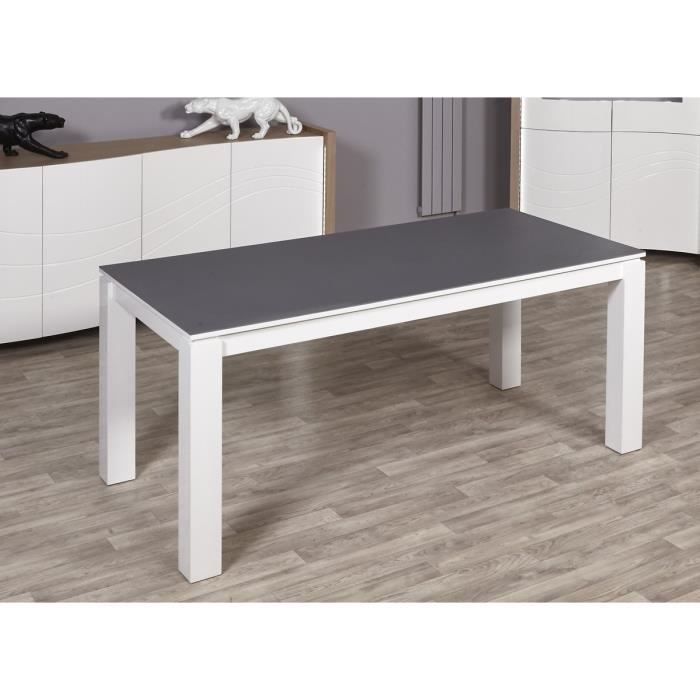 Montana table manger 180x90 cm laqu blanc et gris for Table a manger et buffet