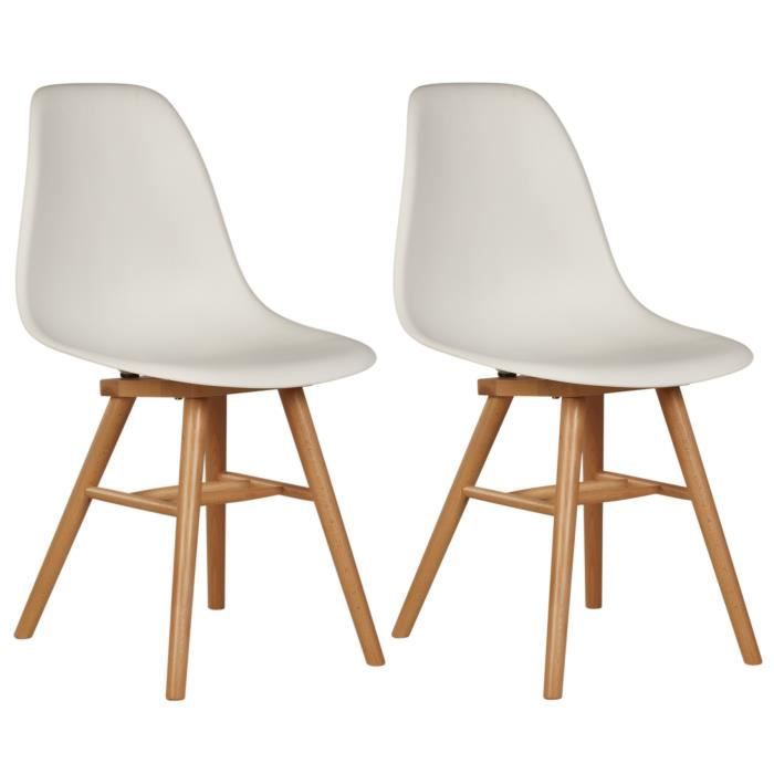 JAMES Lot de 2 chaises de salle à manger Design Scandinave blanches ...