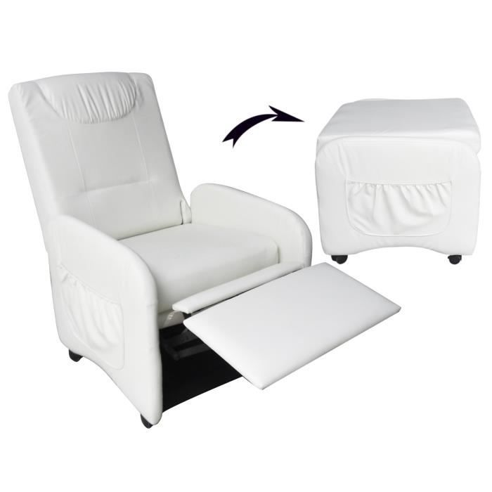 origami fauteuil relax pliable blanc achat vente fauteuil bois 100 polyester cdiscount. Black Bedroom Furniture Sets. Home Design Ideas
