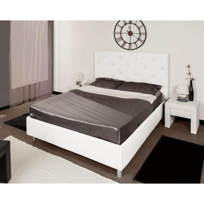 lits 160 cm achat vente lits 160 cm pas cher cdiscount. Black Bedroom Furniture Sets. Home Design Ideas