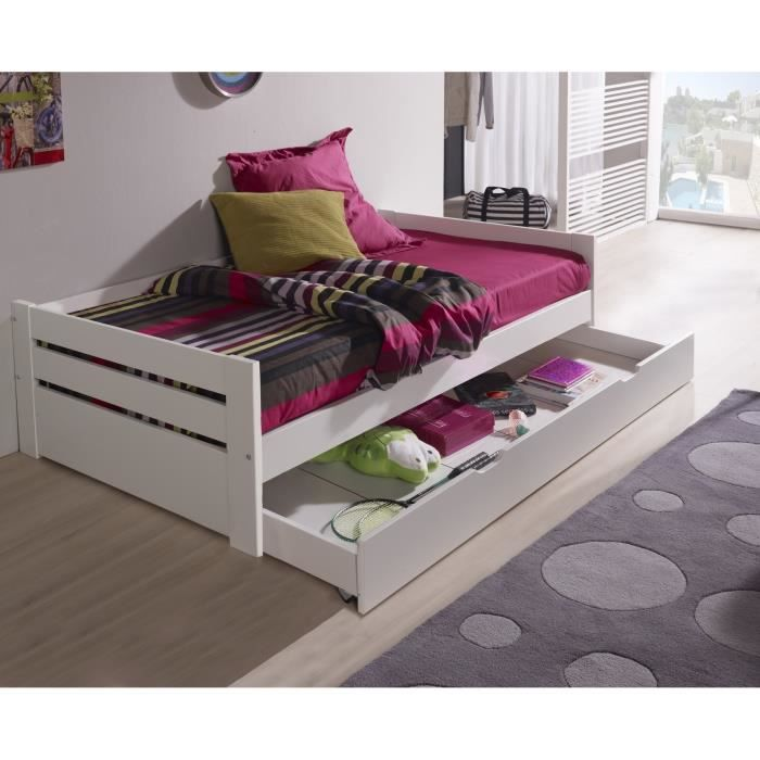 ernest lit gigogne enfant 90x190 cm couleur blanc achat vente structure de lit ernest lit. Black Bedroom Furniture Sets. Home Design Ideas