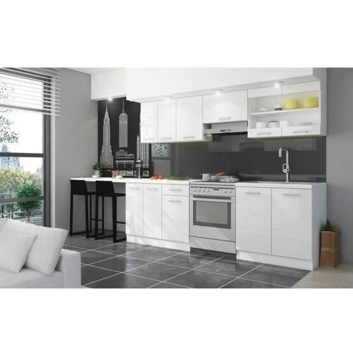 cuisine complete blanc brillant achat vente pas cher. Black Bedroom Furniture Sets. Home Design Ideas