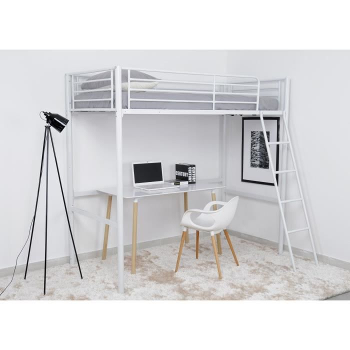 laho lit mezzanine adulte 90x190cm m tal blanc achat vente lit mezzanine laho lit mezzanine. Black Bedroom Furniture Sets. Home Design Ideas